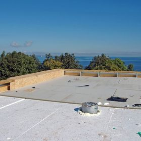 on going work on a flat roof